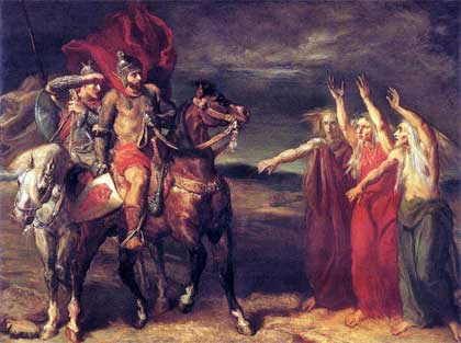 "Théodore Chassériau, ""Macbeth and Banquo Meeting the Witches on the Heath"" (1855)"