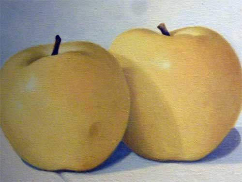 Three Yellow Apples (detail)