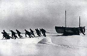 "The crew of the ""Endurance"" hauling the ""James Caird"""