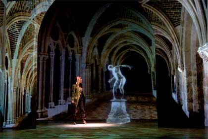 Bénédicte Décary as Belle and Peter James as The Demon in a virtual cloister