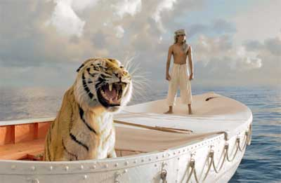 Lifelike animated tiger and Suraj Sharma as Pi on the boat in 'Life of Pi'