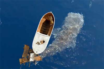 Lifelike animated whale under boat in 'Life of Pi'