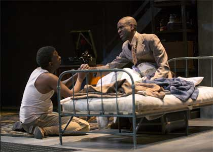 Teagle F. Bougere as Invisible Man, Brian D. Coats in 'Invisible Man,' Huntington Theatre Company