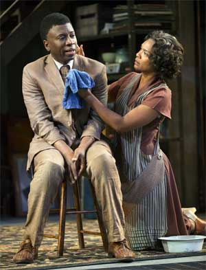 Teagle F. Bougere as Invisible Man and Deidra LaWan Starnes in Invisible Man  Photo T. Charles Erickson