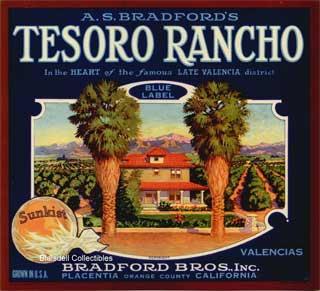 """Tesoro Rancho"" fruit label"