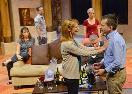 Lewis D. Wheeler as Nick, Tamara Hickey as Diane, Abigail Killeen as Louise, Robert Pemberton as Trevor, Cate Damon as Pam, John Kooi as Charlie in 'Rancho Mirage'