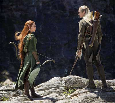 Evangeline Lilly as Tauriel, Orlando Bloom as Legolas in 'The Hobbit: The Desolation of Smaug'