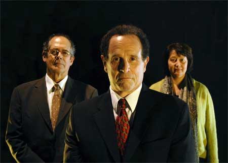 Joel Colodner as Solomon Galkin, Jeremiah Kissel as Bernie Madoff, Adrianne Krstansky as a Secretary in 'Imagining Madoff'