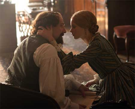 Ralph Fiennes as Charles Dickens, Felicity Jones as Nelly Ternan in 'The Invisible Woman'