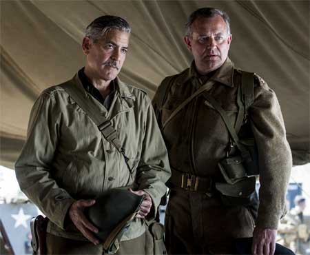 George Clooney as Frank Stokes, Hugh Bonneville as Donald Jeffries in 'The Monuments Men'