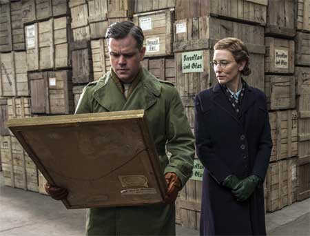 Matt Damon as James Granger, Cate Blanchette as Claire Simone in 'The Monuments Men'