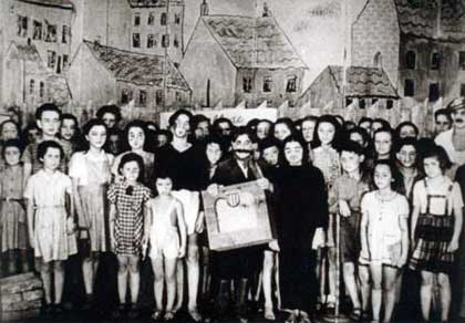 Cast picture from a production of 'Brundibar' at Terezin concentration camp in the 1940s