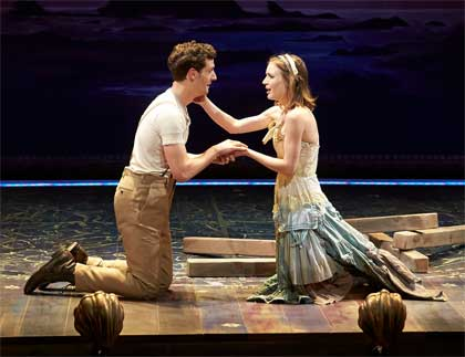 Joby Earle as Ferdinand, Charlotte Graham as Miranda in 'The Tempest'