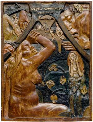 Paul Gauguin, 'Be In Love And You Will Be Happy' (1889), Carved linden wood, Museum of Fine Arts, Boston
