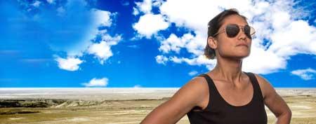 Celeste Oliva as The Pilot in 'Grounded'