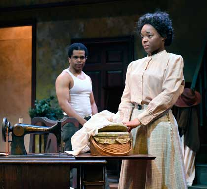 Brand G. Green as George, Lindsey McWhorter as Esther in 'Intimate Apparel'