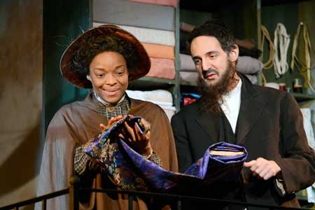 Lindsey McWhorter as Esther, Nael Nacer as Mr. Marks in 'Intimate Apparel'
