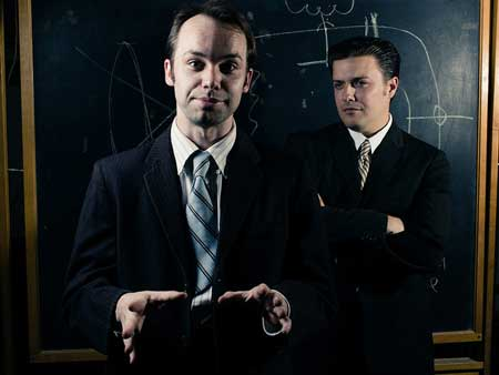 Chris Larson as Philo Farnsworth, Michael Fisher as David Sarnoff in 'The Farnsworth Invention'