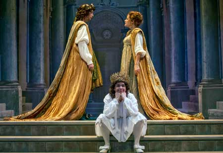 David Hansen as Nerone, Nell Snaidas as Amore, Amanda Forsythe as Poppea in 'Poppea'