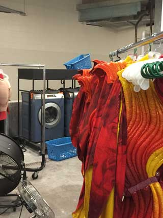 'Varekai' costumes at Cirque's portable washing station