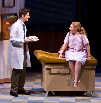 Drew Gehling as Dr. Pomatter, Jessie Mueller as Jenna in 'Waitress'