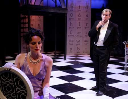 Jennifer Ellis as Eliza Doolittle, Christopher Chew as Prof. Henry Higgins in 'My Fair Lady'