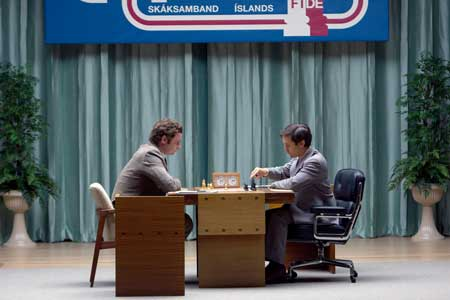 Liev Schreiber as Boris Spassky, Tobey Maguire as Bobby Fischer in 'Pawn Sacrifice'