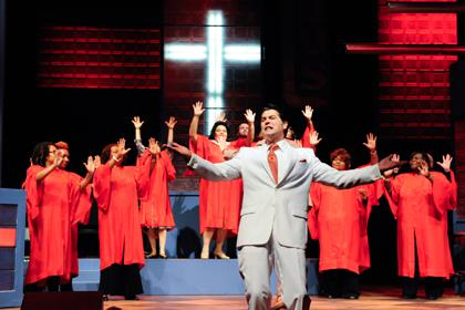 John F. King as the Preacher with Gospel Choir in 'Violet'