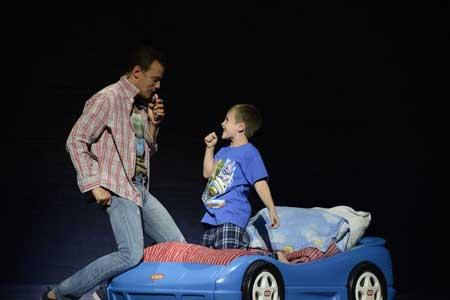 Andrew Giordano as Tick, Cameron Levesque as Benji in 'Priscilla Queen of the Desert'