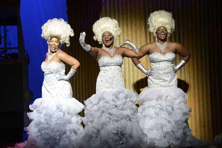 Tamala Baldwin, Lindsay Roberts and Onyie Nwachukwu as The Divas in 'Priscilla Queen of the Desert'