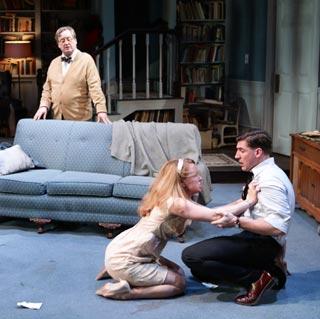 Steven Barkhimer as George, Erica Spyres as Honey, Dan Whelton as Nick in 'Who's Afraid Of Virginia Woolf?'