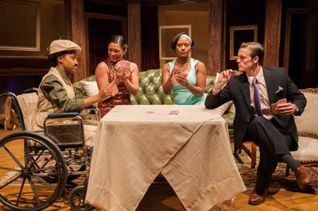 Robin Smith as Magnus, Mary Elissa Palma as Cynthia, Jade Guerra as Felicity, Michael Underhill as Simon in 'The Real Inspector Hound'