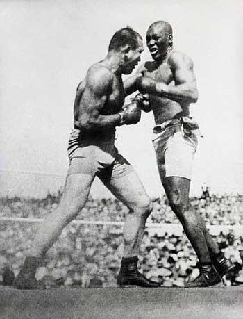 Jack Johnson fighting James J. Jeffries in 1910