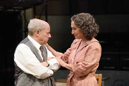 Stephen Berenson as Willy, Phyllis Kay as Linda in 'Death of a Salesman'