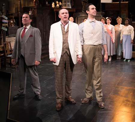 Tony Castellanos as Wilson Mizner, Neil A. Casey as Addison Mizner, Patrick Varner as Hollis Bessemer, with the cast in 'Road Show'