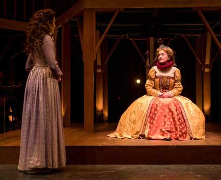 Jennifer Ellis as Viola, Nancy E. Carroll as Queen Elizabeth I in 'Shakespeare in Love'