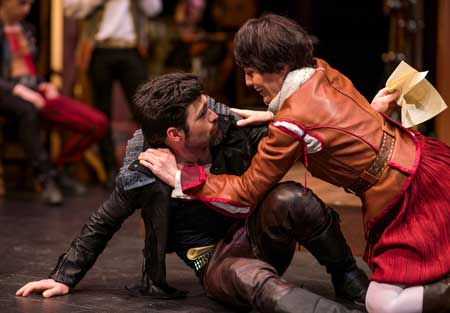George Olesky as Will, Jennifer Ellis as Viola in 'Shakespeare in Love'