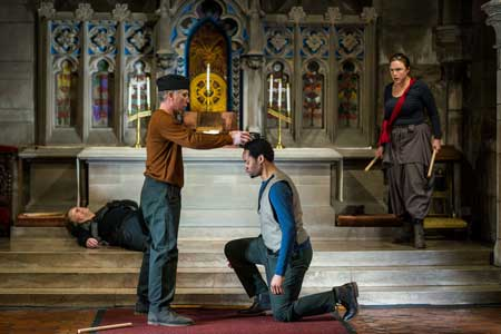Steven Barkhimer as Richard III, Michael Forden Walker as Buckingham, Deaon Griffin-Pressley as Richmond, Jennie Israel in 'Richard III'