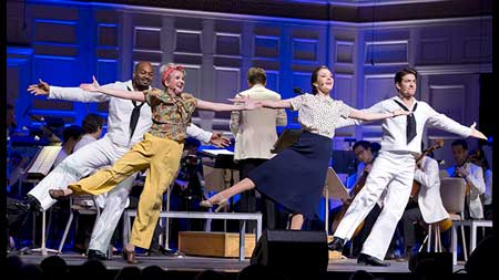 Brandon Victor Dixon as Gabey, Megan Lawrence as Hildy, Laura Osnes as Claire, and Andy Karl as Ozzie in 'On The Town'