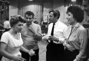 Nancy Walker (Hildy), Leonard Bernstein (composer), Adolph Green (lyricist, Ozzie), Betty Comden (lyricist, Claire), preparing the studio cast recording in 1961