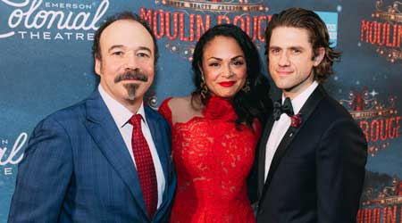 Danny Burstein, who plays Harold Zidler; Karen Olivo, who plays Satine;Aaron Tveit, who plays Christian in 'Moulin Rouge! (The Musical)'
