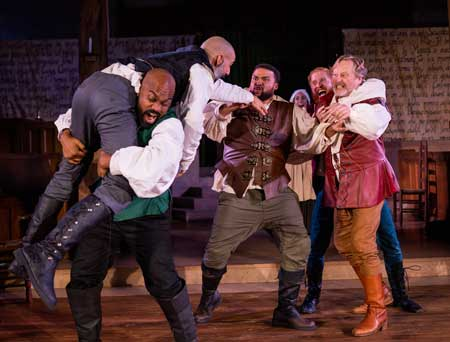 Maurice Parent, Nael Nacer, Kai Tshikosi, Kimberly Gaughan, Ed Hoopman, Steven Barkhimer in 'Equivocation'