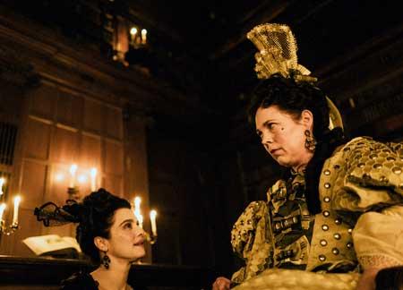 Rachel Weisz as Sarah Churchill, Olivia Colman as Queen Anne in 'The Favourite'