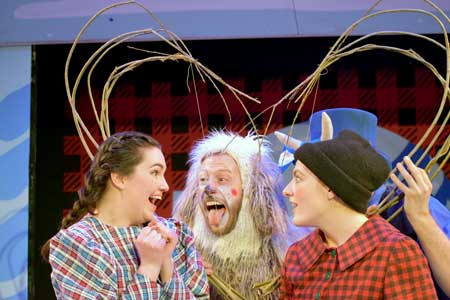 Laura Detwiler as Carrie McGinty, Joey C. Pelletier as Niagara, the Shaggy Dog, Kiki Samko as Paul Bunyan in 'Paul Bunyan and the Winter of the Blue Snow'