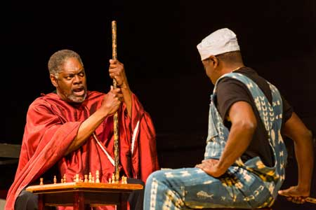 Johnny Lee Davenport as Great Grand Daddy Deus, Regie Gibson as Great Grand Paw Sidin in 'black odyssey boston'