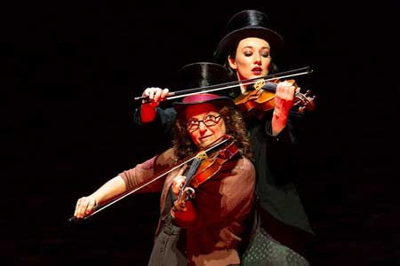 Violinists Lisa Gutkin and Elizabeth A. Davis in 'Indecent'