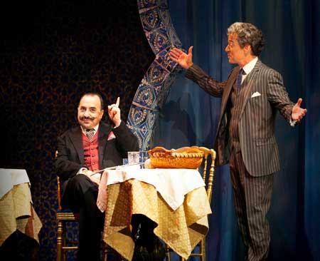Steven Rattazzi as Hercule Poirot, Christopher Gurr as Monsiuer Bouc in 'Murder on the Orient Express'