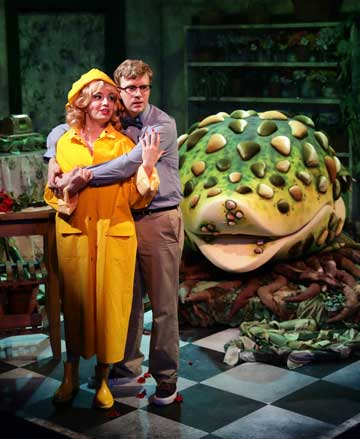 Katrina Z. Pavao as Audrey, Dan Prior as Seymour in 'Little Shop of Horrors'
