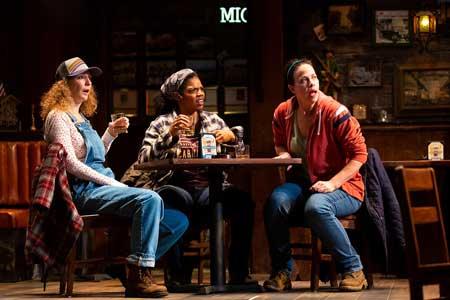 Marianna Bassham as Jessie, Tyla Abercrumbie as Cynthia, Jennifer Regan as Tracey in 'Sweat'