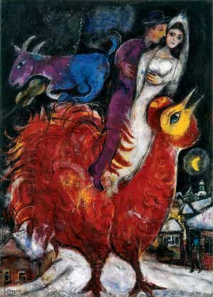 Chagall Bride and Groom on Cock